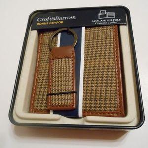 NIB Croft & Barrow Leather Passcase Billfold & Fob